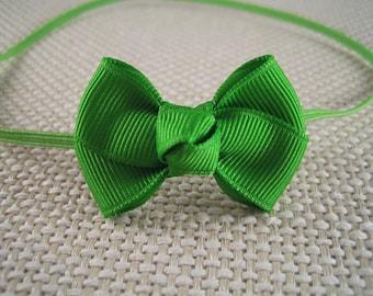Apple Green Infant Headband -  Green headband with Hair Bow - Infant Headband, Baby Headband, Skinny Elastic  Headband