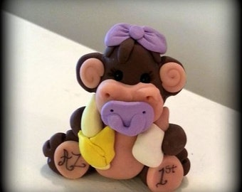 Personalized Baby Monkey Cake Topper or Figurine