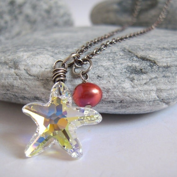 Star Necklace, Swarovski Crystal Star, Wine Red Pearl Charm, Crystal Jewelry, Starfish Pendant, Sterling Silver Necklace, Christmas Gift