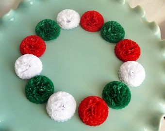 Button Mums Tissue Paper Flowers  1 Inch Paper Flowers Christmas Mix Red, Green and White Flowers