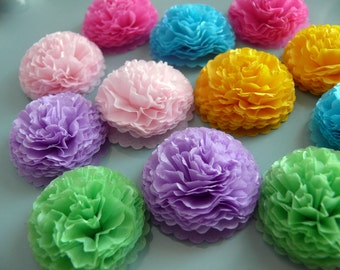 Button Mums Tissue Paper Flowers  1 inch Summer Blooms  Wedding, Bridal Shower, Baby Shower Decor