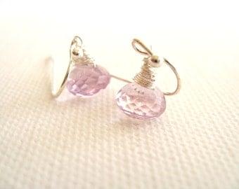 Pale pink Amethyst Earrings Gift for her Under 50 Vitrine February birthstone