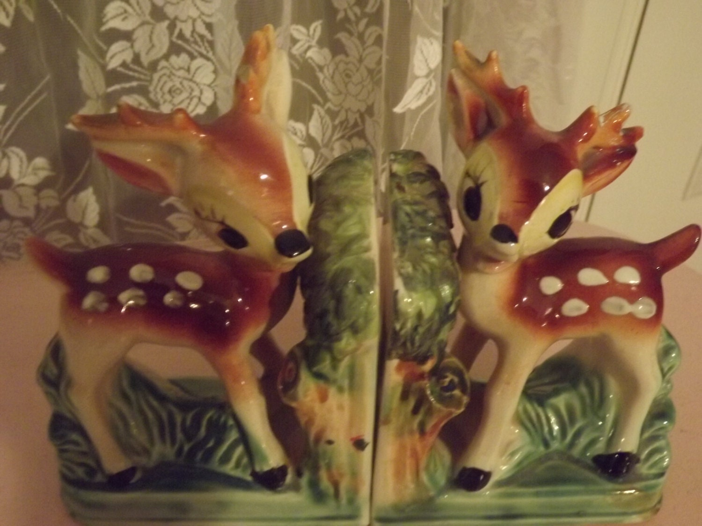 Vintage bookends cute deer bookends made in japan 1950s - Deer antler bookends ...