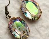Champagne Oval Drop Crystal Stone Earrings