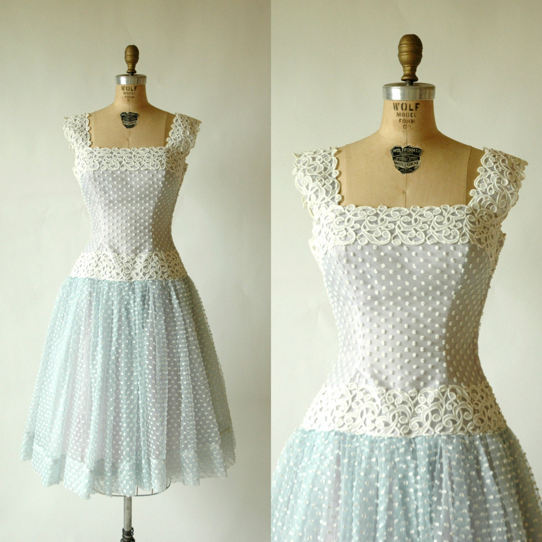 1950s Party Dress Vintage Blue Prom Dress