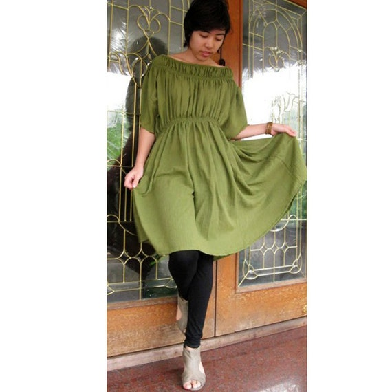 Custom Made Green Cotton Boho Loose Baby doll Short Dress  S - XL (H)