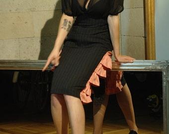 Black & pink skirt, lolita skirt, ruffle skirt, high waist skirt, pink skirt, black skirt, wedding skirt, SAMPLE SALE, unique skirt, MASQ