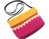 Knitted Satchel - Yellow and Fuchsia