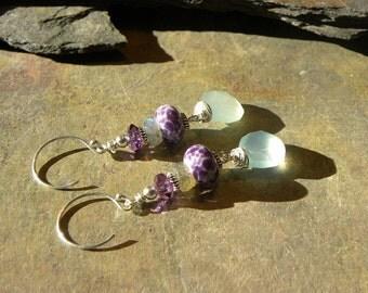 Seafoam green Chalcedony, Artisan purple Lampwork, genuine Amethyst & Labradorite rondelle EARRINGS