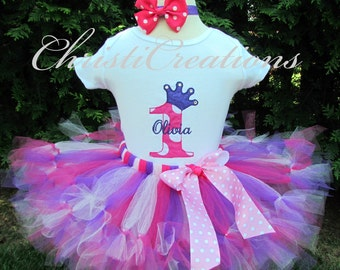 Baby Girl 1st Birthday Tutu Outfit - Petti Tutu - Cake Smash Photo Prop