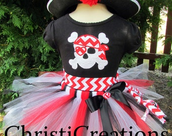 Girl Pirate Costume - Halloween Pirate Tutu Outfit - 2T thru 10