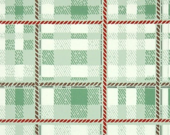 1940s Vintage Wallpaper by the Yard - Plaid Vintage Wallpaper of Green Red White and Brown