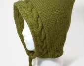 Cable Knit Hood in Green - Free Shipping