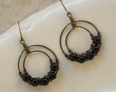 Beaded Hoop Earrings -  Wire Wrapped and Hammered Double Hoops with  Black Onyx Beads