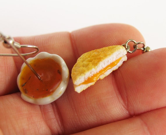 Grilled Cheese and Tomato Soup Earrings, Food Jewelry, Miniature Food Jewelry