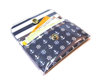Nautical Print Card Holder Snap Wallet