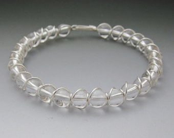 Clear Quartz Crystal Beaded Sterling Silver Wire Wrapped Bracelet