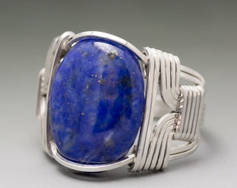 Lapis Lazuli Sterling Silver Wire Wrapped Cabochon Ring - Made to Order and Ships Fast!