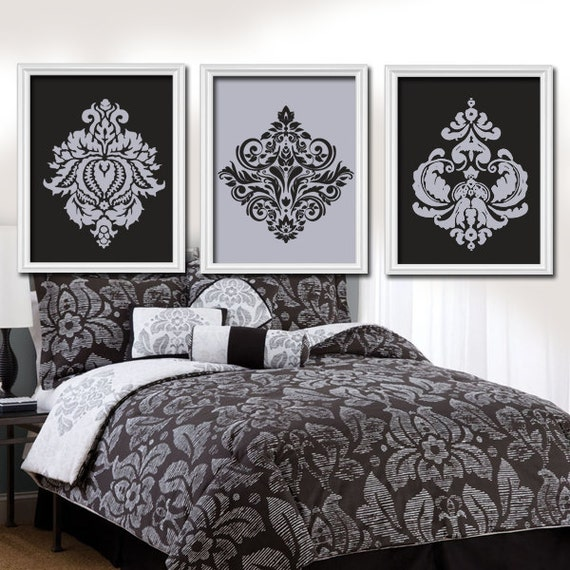 Wall art canvas artwork grey gray charcoal black by trmdesign for Black damask bedroom ideas