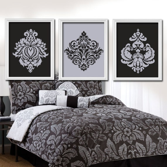 Wall Art For Grey Bedroom : Gray black wall art damask bedroom pictures canvas or
