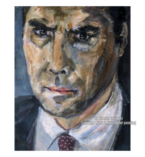 Criminal Minds Aaron Hotchner The Reaper Returns ORIGINAL 16 by 20 inch Acrylic Portrait on Canvas by Ginette