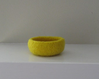 Pear Yellow Felted Mini Bowl - In Stock - Ready to Ship