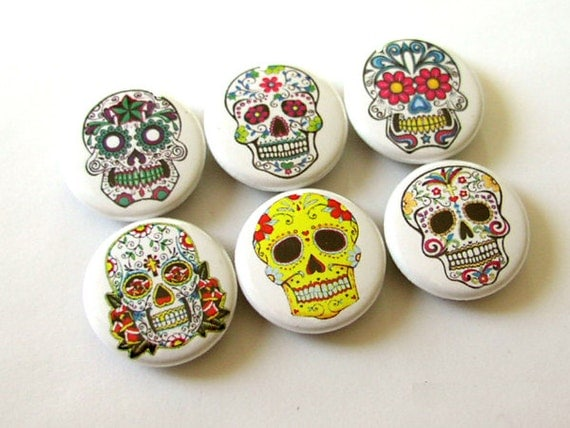 Day of the Dead Sugar Skull Magnets Pinbacks Coaster decor Dia De Los Muertos calavera skeleton halloween stocking stuffer party favor gift