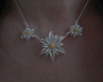 Edelweiss - silver filigree necklace