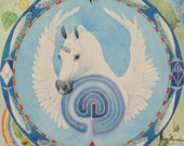 "Shamanic mandala ""Blue Unicorn"" A4 print"