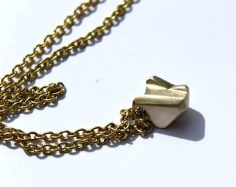 Bronze Necklace Long Chain Nugget Pendant Handmade Cast Unique Necklace Brushed Finish