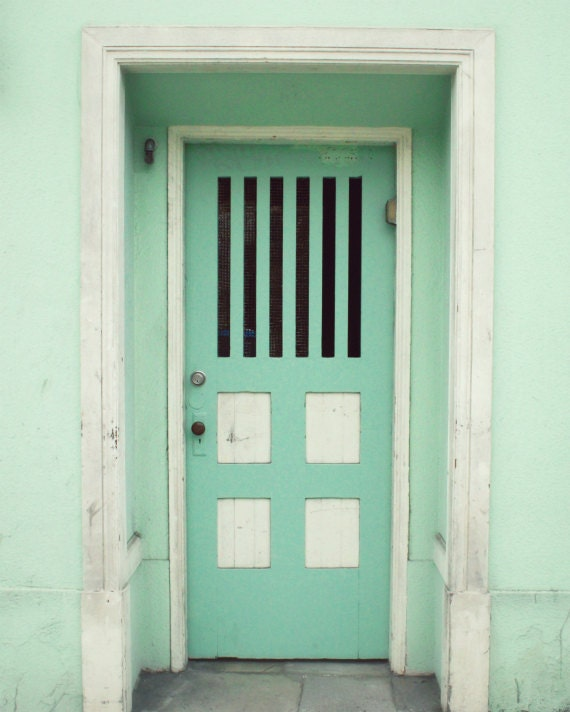 "Pastel mint green wall art - San Francisco Photography - door photography print  -  stripes squares geometric ""Mint Door"""
