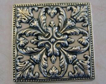 Silver Ornate Square Medallion 398