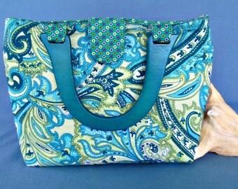 Aqua Paisley Placemat Purse Handbag - OOAK