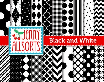 Black and White Digital Papers in Graphic Patterns - for Scrapbooking, Card Making and Invitations - Instant Download