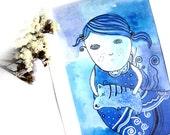 Original painting - Girl - Sea - Blue