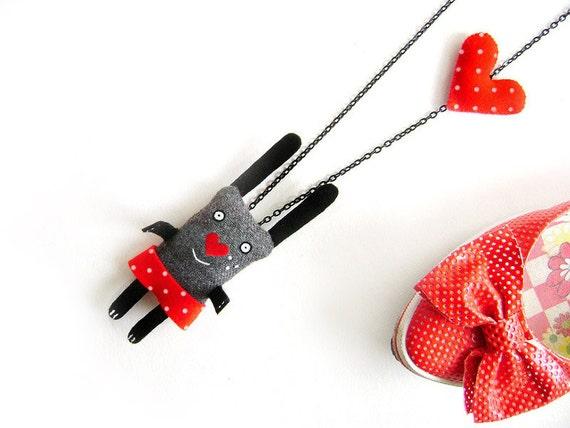 Bunny necklace, CUSTOM color, felt bunny, heart, cute animal necklace