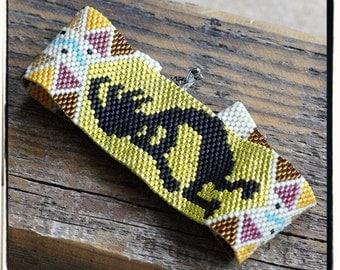 KOKOPELLI peyote bracelet cuff beading pattern PDF personal use download
