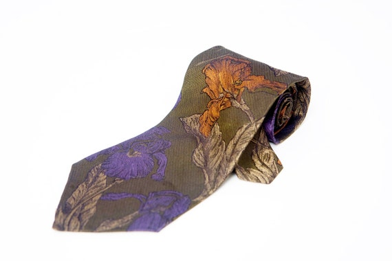 Men's Necktie / Vintage Floral Bugatti Tie