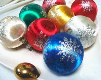 Vintage Snowflake Ball Ornaments Satin Sheen