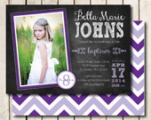 LDS Baptism Invitation Printable for Girls - Chalkboard Style - Any Color Scheme