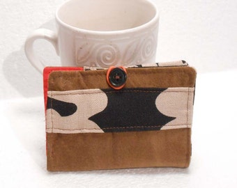 Tea Wallet, Tea Bag Holder, Small Wallet, Business Card Holder - Brown Suede with Geometric Print READY MADE