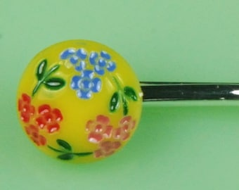 Vintage Yellow Glass Button Hairpin with Flower Decoration