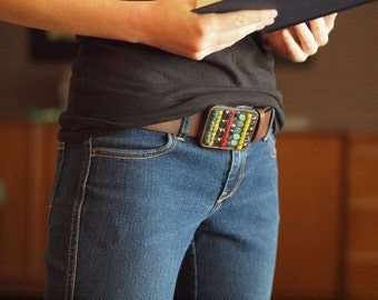 Geometric Mosaic Belt Buckle with Turquoise&Coral Semi Precious Stones includes Leather Belt - Gift for Cool Urban Cowboy or Cowgirl Friend