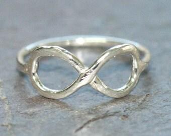 Infinity Midi Ring, Eternity Ring, Size 1 .5, VERY Tiny Pinky RIng, Silver Ring, Silver Infinity Ring by Maggie McMane Designs