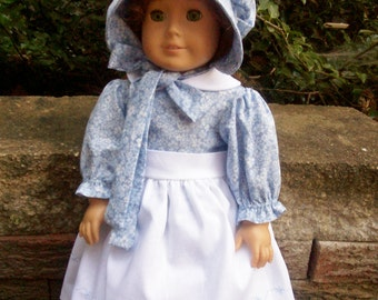 Pioneer dress,Bonnet and Embroidered Apron for 18 inch doll (Made to order only)