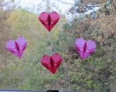 Translucent Paper Heart Sun Catchers in Pink and Red Made from German Kite Paper - Set of 4