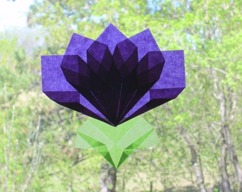 Purple Flower Origami Window Decoration (Similar to Translucent Kite Paper Waldorf Window Stars)