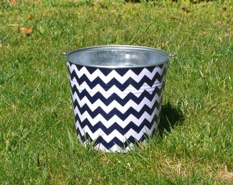 Navy Blue and White Chevron Fabric Covered Galvanized Perfect Pail