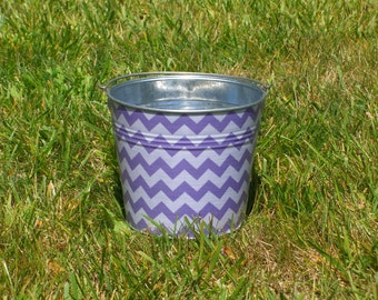 Lavender Purple and White Chevron Fabric Covered Galvanized Perfect Pail