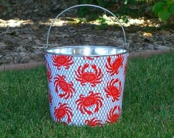 Red Crabs Caught on a Net Galvanized Metal Jr. Bucket
